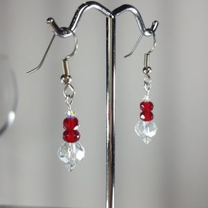 E190 Czech Ruby & White Crystal Glass Earrings